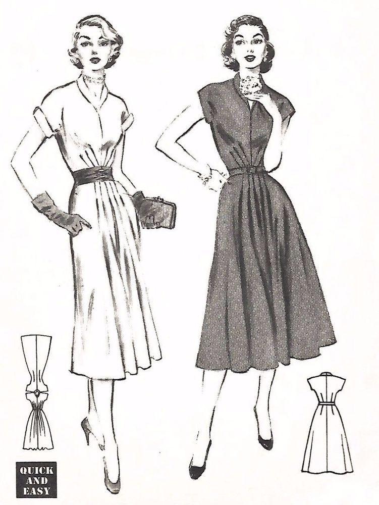 Vintage 1950\'s Sewing Pattern Pleats Rockabilly Sunburst Tucks Dress ...
