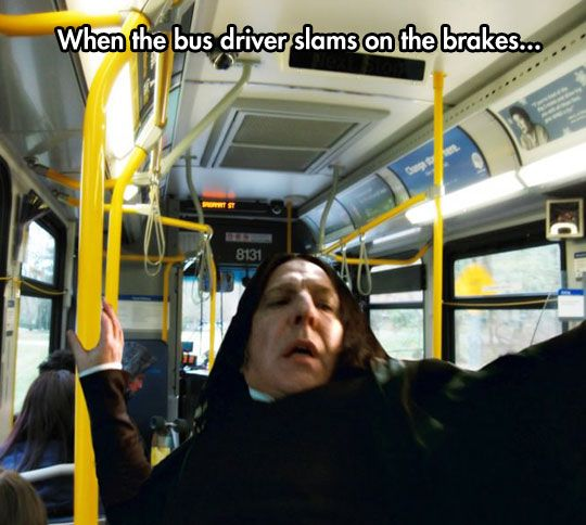 Image result for snape on a bus meme