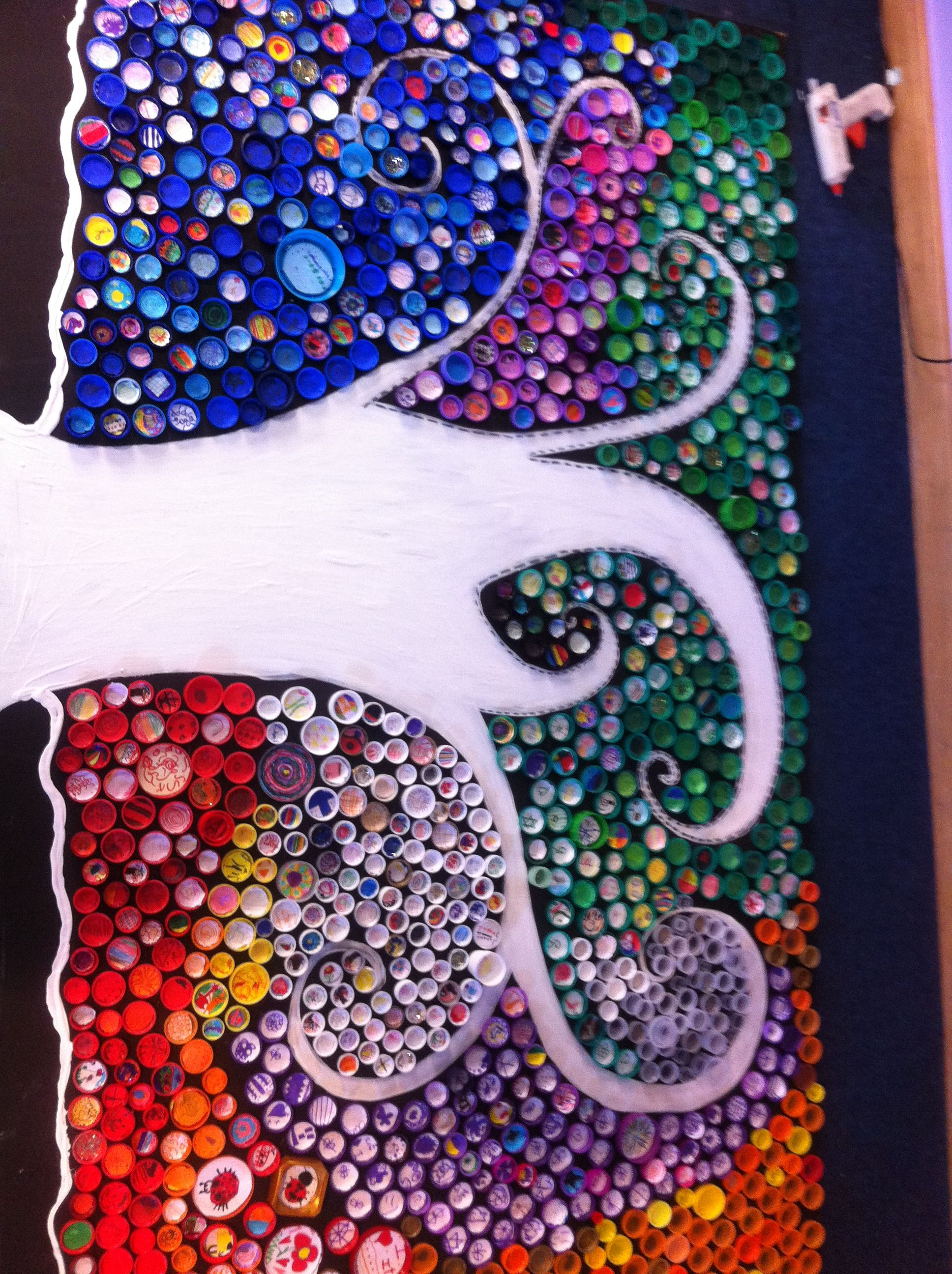 Our school bottle top art piece each bottle top has an for Bottle top art projects