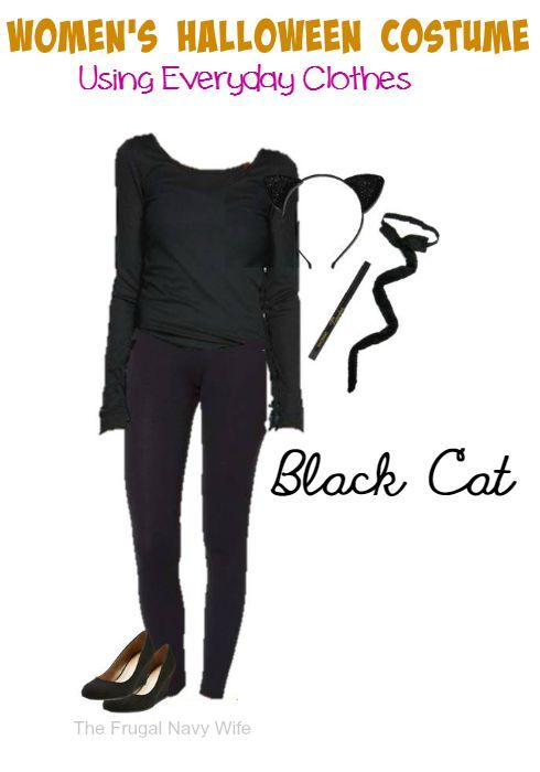 Black Cat Women\u0027s Halloween Costume , Using Everyday Clothes , The Frugal  Navy Wife