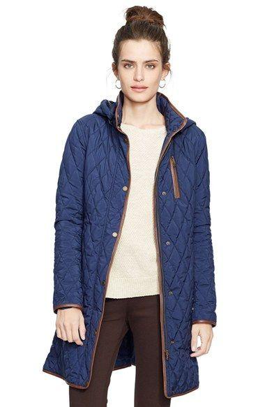 d56943299 Lauren Ralph Lauren Faux Leather Trim Quilted Coat
