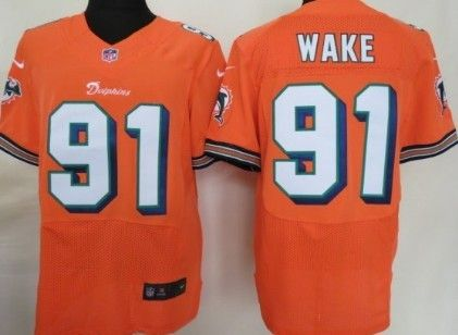 check out 583e2 37d36 Nike NFL Miami Dolphins #91 Cameron Wake Orange Elite Jersey ...