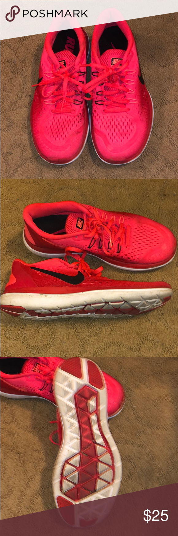 Nike running shoes bright neon red pink