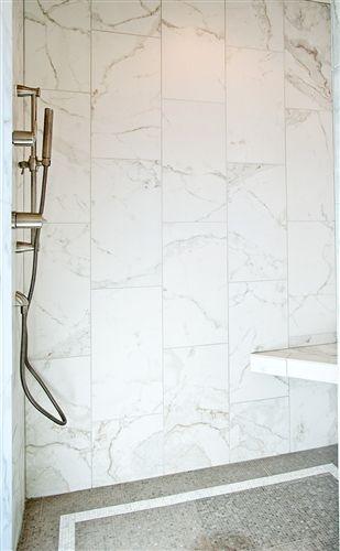 Calacatta Porcelain 12x24 Matte Marble Tile Bathroom