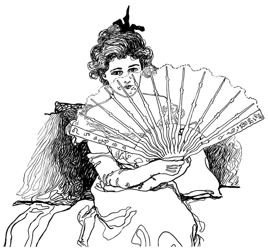 Victorian Lady Woman Holding Fan Black And White Clip Art Vintage Clipart