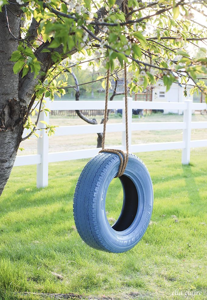 Easy diy tire swing diy tire swing fun diy and tired for Tyre swing ideas
