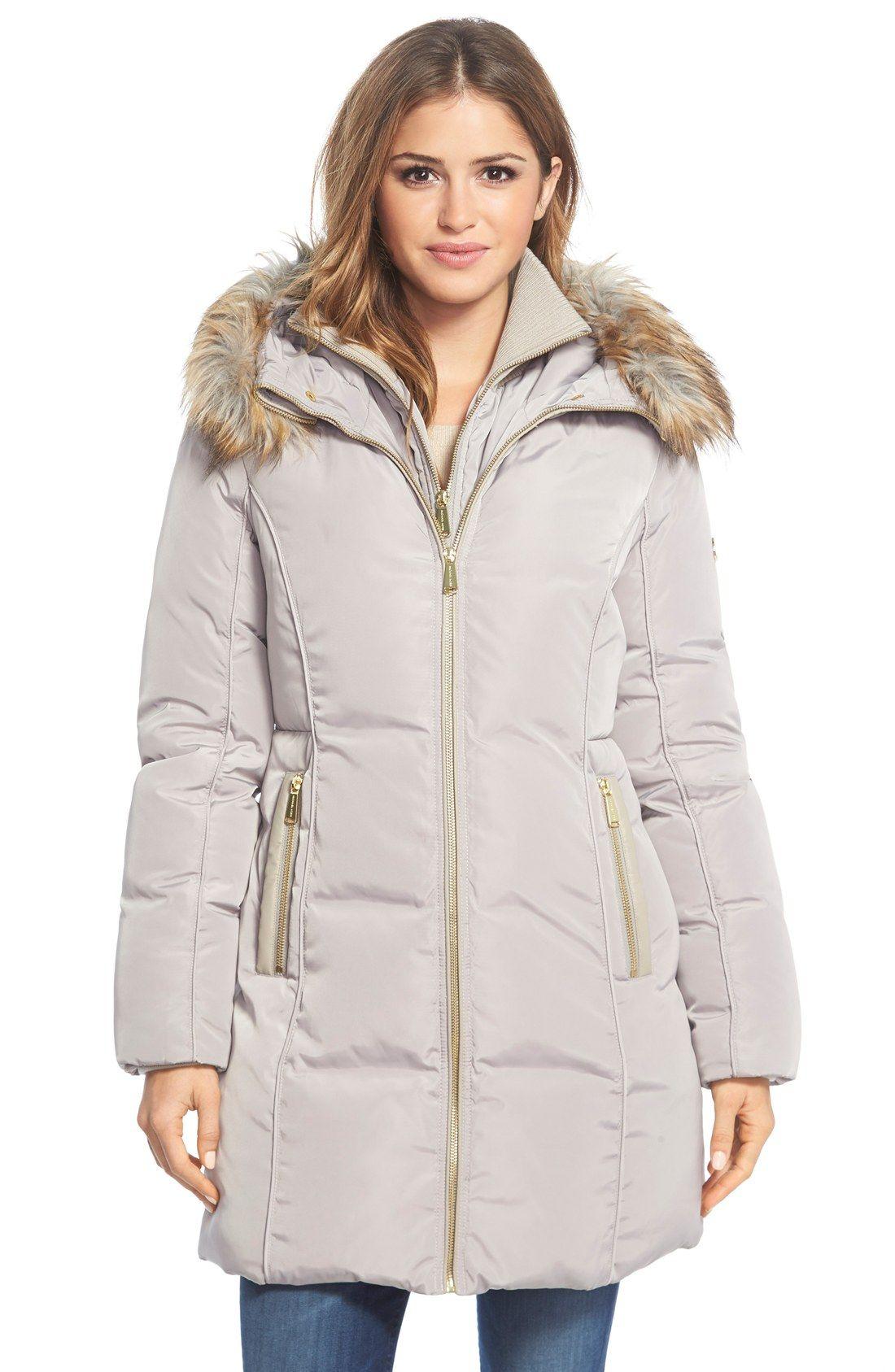 MICHAEL Michael Kors Faux Fur Trim Hooded Down & Feather Fill Coat ...