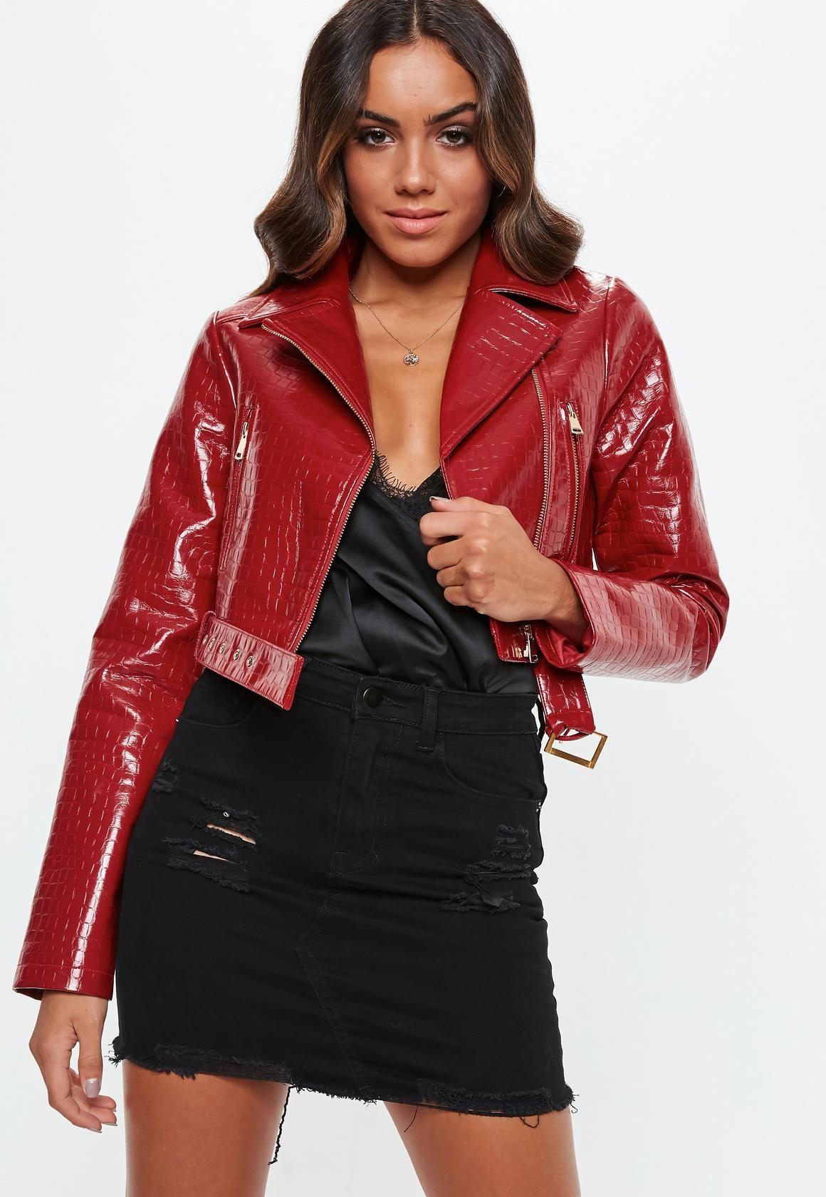 Missguided Red Croc Biker Jacket Coats Jackets Women Coats For Women Jackets [ 1680 x 1160 Pixel ]