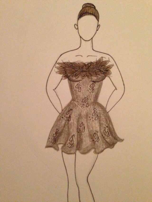 Croqui roupa cisnei negro por Fabiana