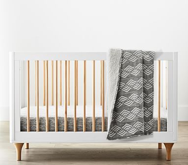 Babyletto Lolly Convertible Crib Black Washed Natural Standard
