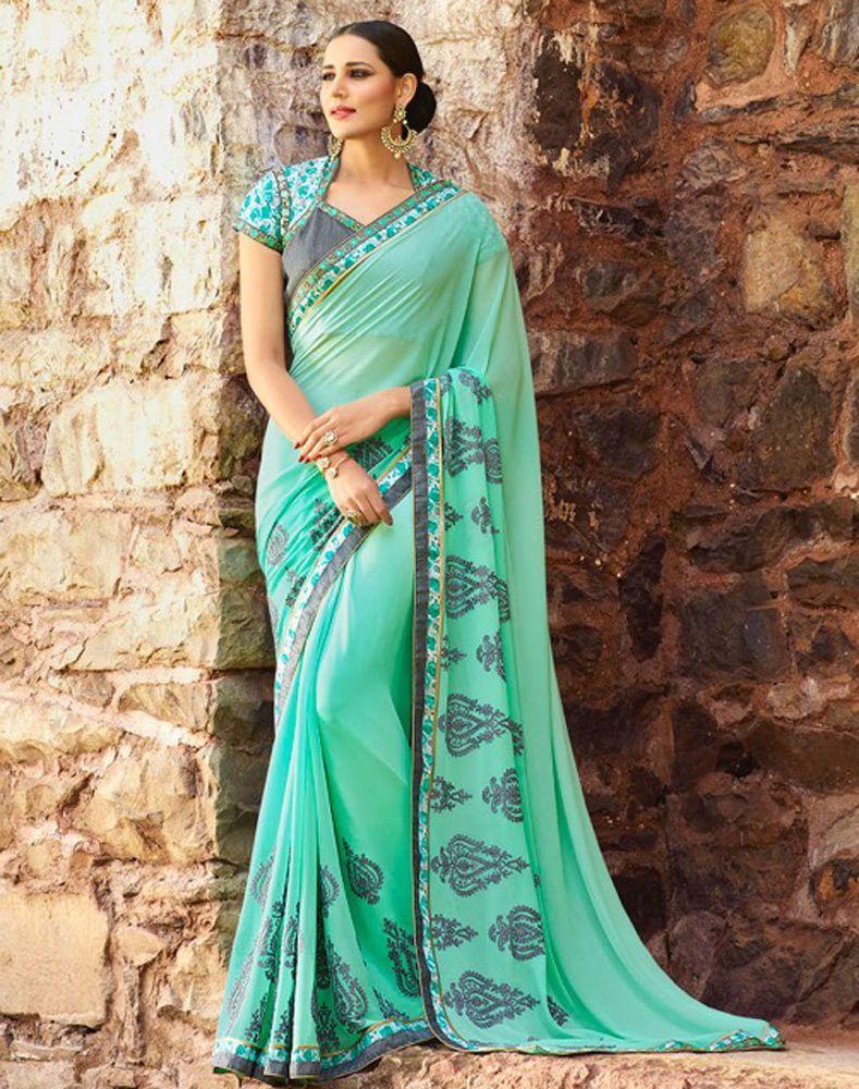 bridal eid sari new designer blouse indian bollywood wedding party ...