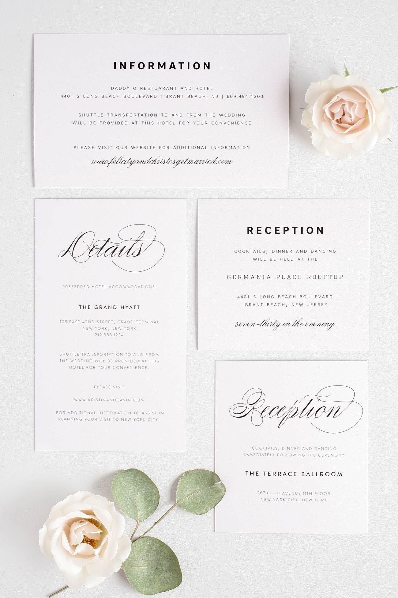 Small + Large Enclosures Wording 101 Wedding reception
