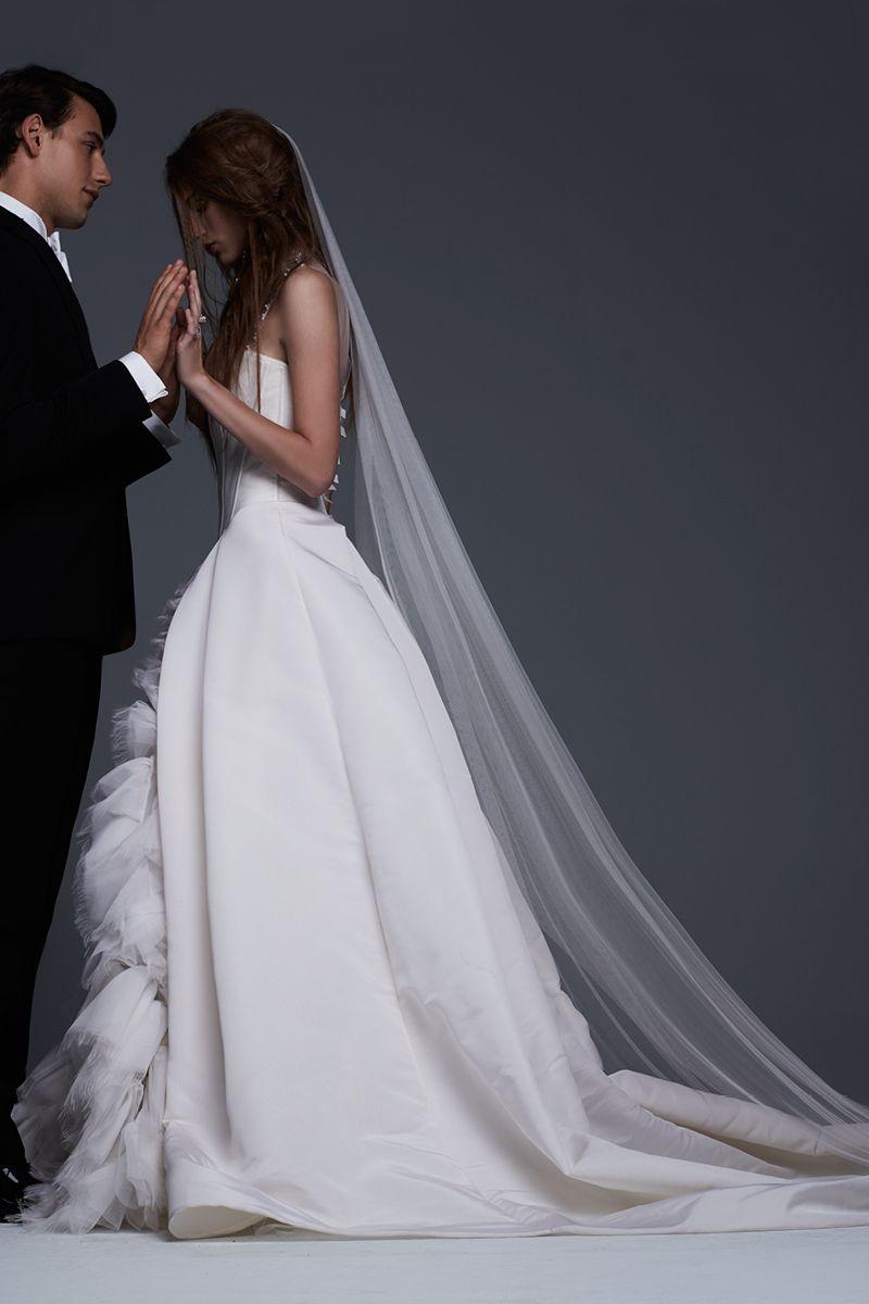 Lace up wedding dress november 2018 VeraWang Fall  Bridal Collection Evelina  Light ivory silk