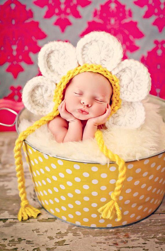 newborn baby girl photo prop daisy hat fotoideen baby pinterest gro e fotos neugeborene. Black Bedroom Furniture Sets. Home Design Ideas