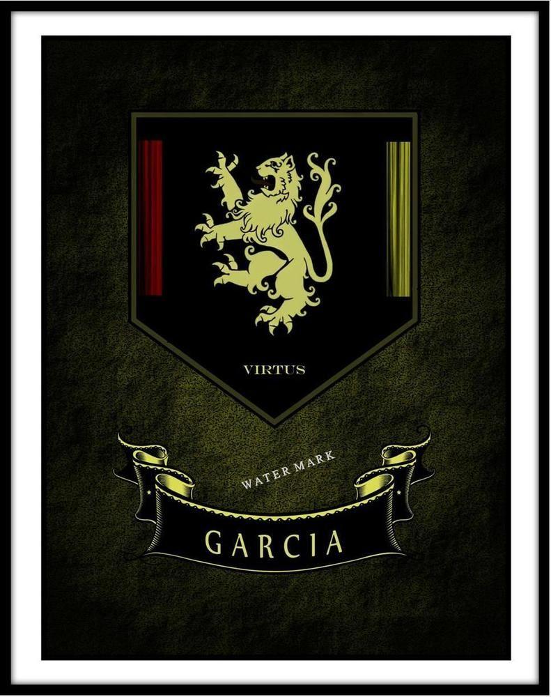 GARCIA Family Name; Framed Print 11 x 14 Coat of Arms Shield ...