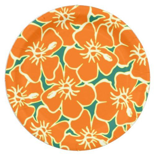Orange Hibiscus Flowers Tropical Hawaiian Luau Paper Plate  sc 1 st  Pinterest & Orange Hibiscus Flowers Tropical Hawaiian Luau Paper Plate ...