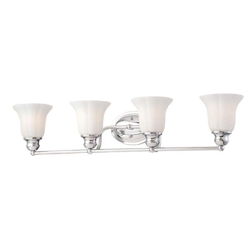 Photo of Eurofase Lighting 23051-010 Chrome Fountaine 4 Light 33″ Wide Bathroom Vanity Light with Frosted Glass Shade