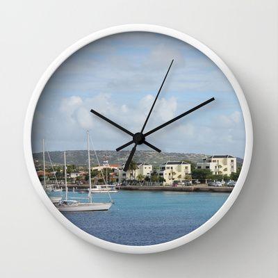Bonaire Kralendijk Harbor Sailing Boats Wall Clock by Christine aka stine1 - $30.00