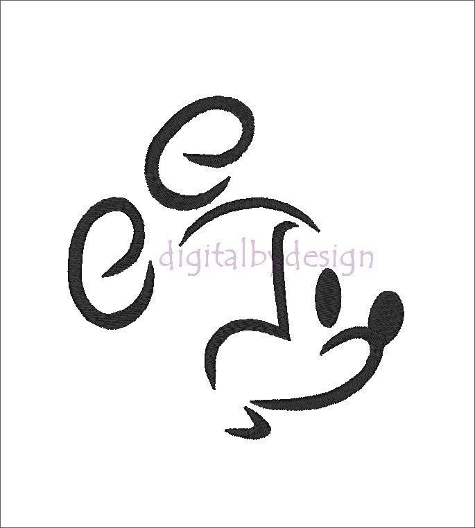 Mickey Mouse Head Outline Tattoo