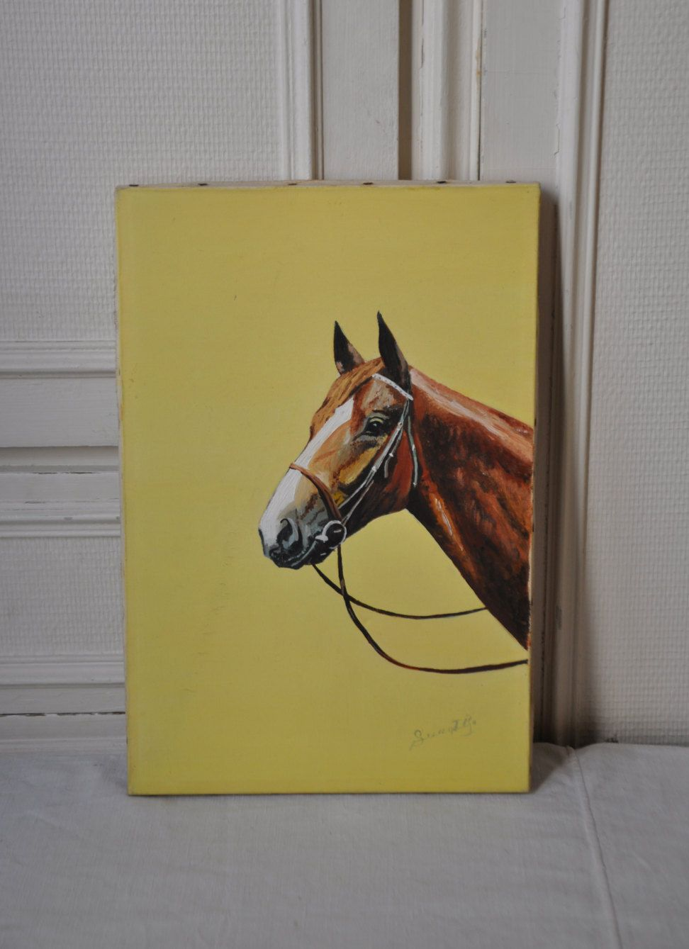 Vintage French Horse Equestrian Oil Painting, Yellow Retro Mid ...