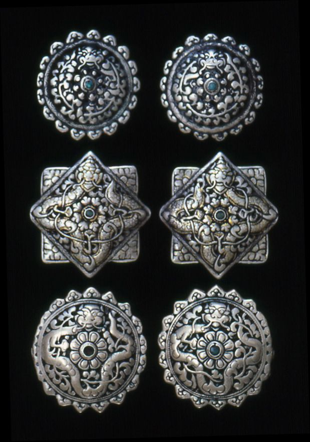 Bhutan Koma Repousse Brooch Used To Secure Womans Traditional Bhutanese Dress Kira