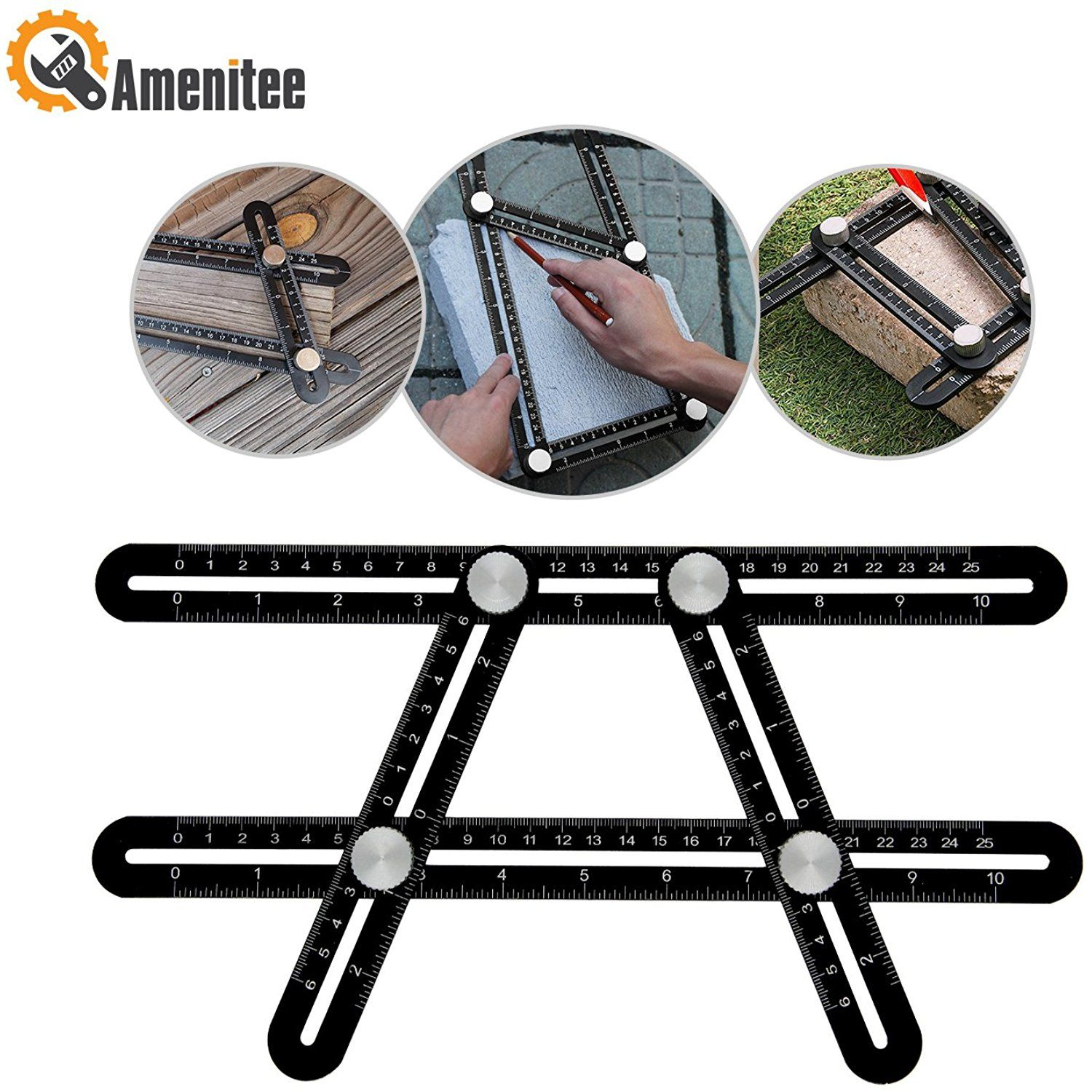 6 Sides Universal Aluminum Alloy Angleizer Template Tool Angle Measuring Ruler