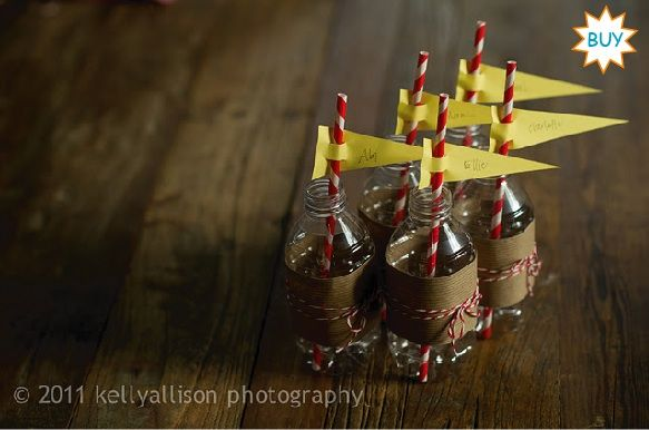 """red straws with yellow flags with """"thanks"""" sentiment"""