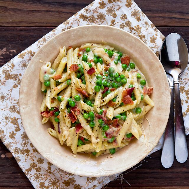 Bacon And Pea Macaroni Cheese With Greek Yogurt Food Recipes