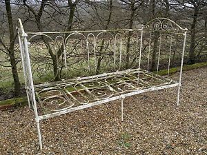 Vintage Antique French Wrought Iron Day Bed Cot Garden Bench French Antiques Antique Iron Beds Shabby Chic Cottage