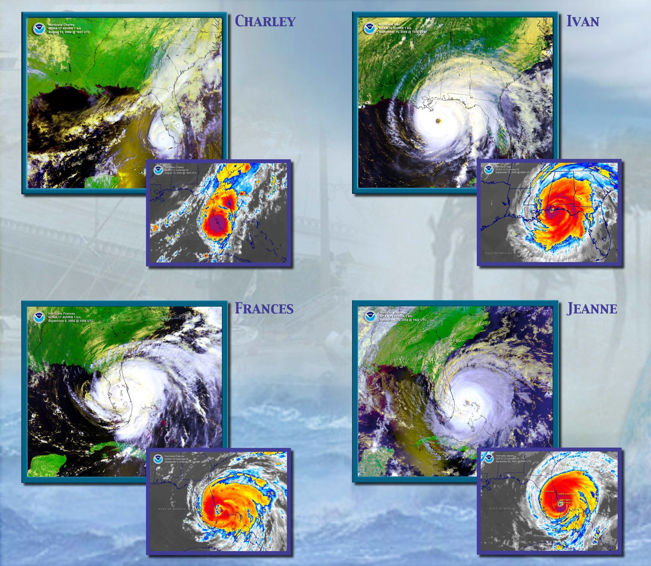 Satellite And Radar Images Of The Four Hurricanes That Hit Florida In 2004 Noaa Atlantic Hurricane Hurricane Season Hurricane Ivan
