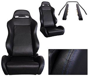 NEW 1 PAIR Black Cloth YELLOW Stitching Racing Seats ALL Ford Mustang
