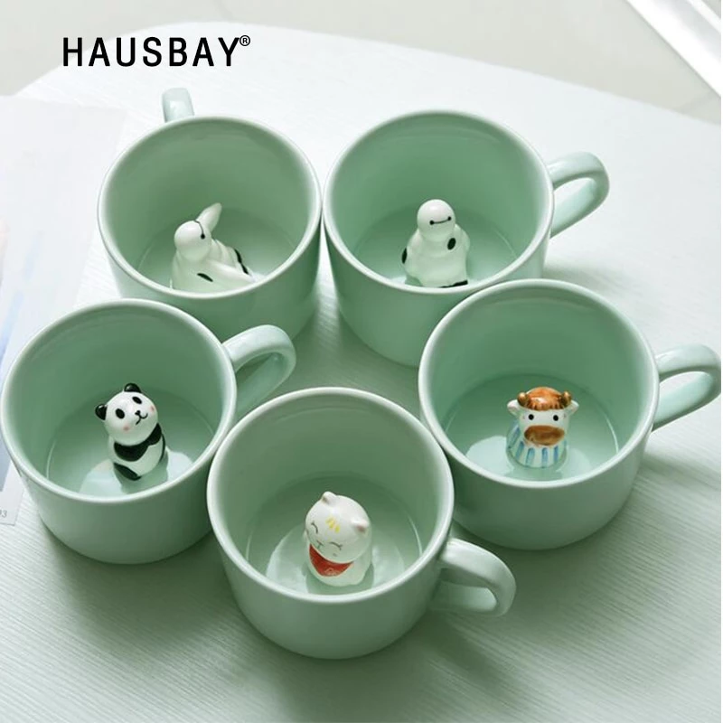 Creative Ceramic Cup coffee Mug 3D Milk Cup With Animal Cute Cartoon Panda Rabbit Tee Cup Heat-resistant Celadon Cup Caneca 1102 #ceramiccafe