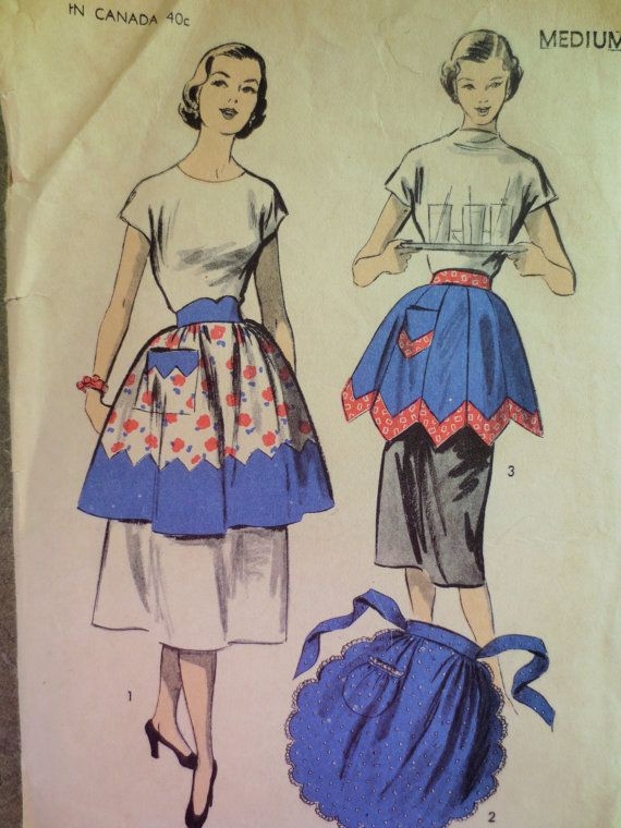Vintage Advance 5883 Sewing Pattern, 1950s Apron Pattern, Half Apron, Scalloped Apron, 1950s Sewing Pattern, Waist 28 to 30, Vintage Sewing