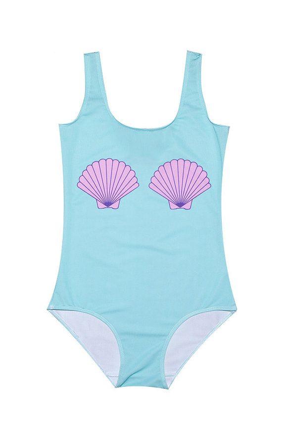 6974aba841162 MERMAID SHELL SWIMSUIT bodysuit womens ladies girls by MLSHOPSS ...