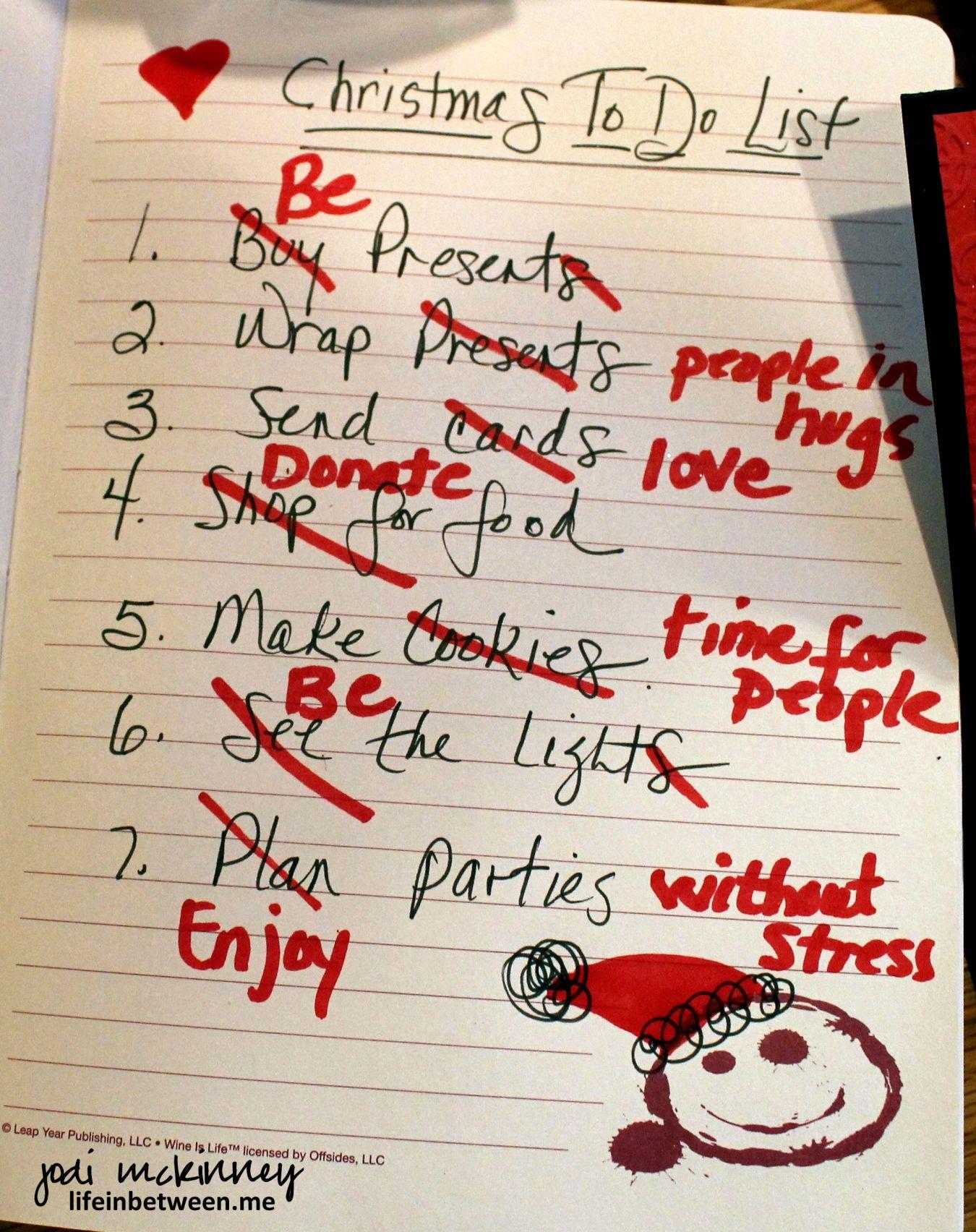 A revised christmas todo list i especially like be
