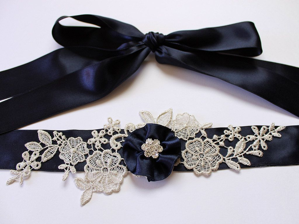 Custom Color Navy Blue Lace Flower Bridal Sash Belt W