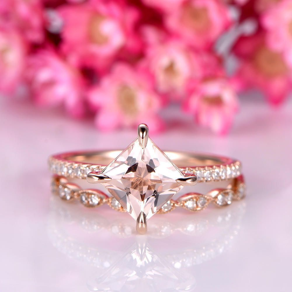 Morganite ring set princess cut morganite engagement ring 6.5mm pink ...
