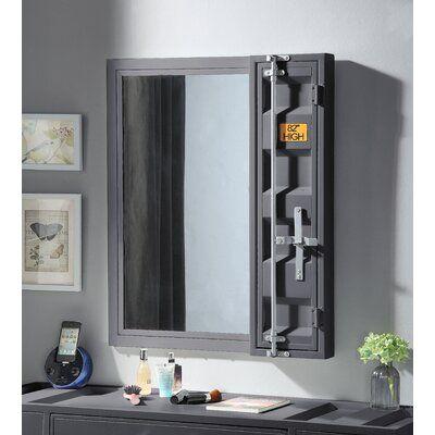 Breakwater Bay Jamar Vanity Mirror Finish Gunmetal Contemporary Bathroom Vanity Vanity Mirror Mirror With Shelf