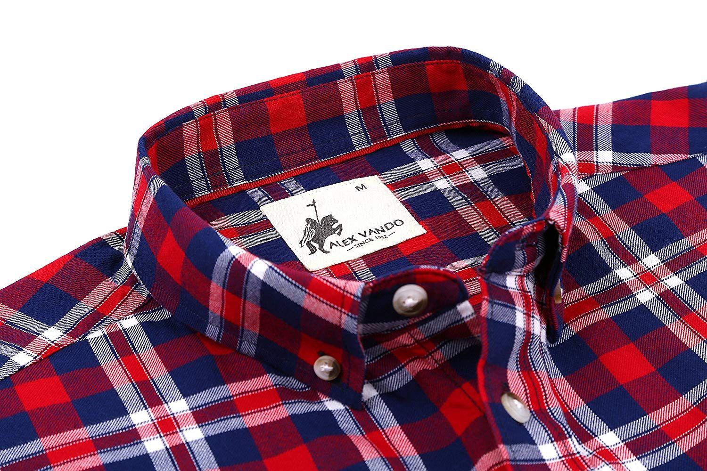 c655846b489 Alex Vando Mens Oxford Casual Button Down Shirts Regular Fit Long ...
