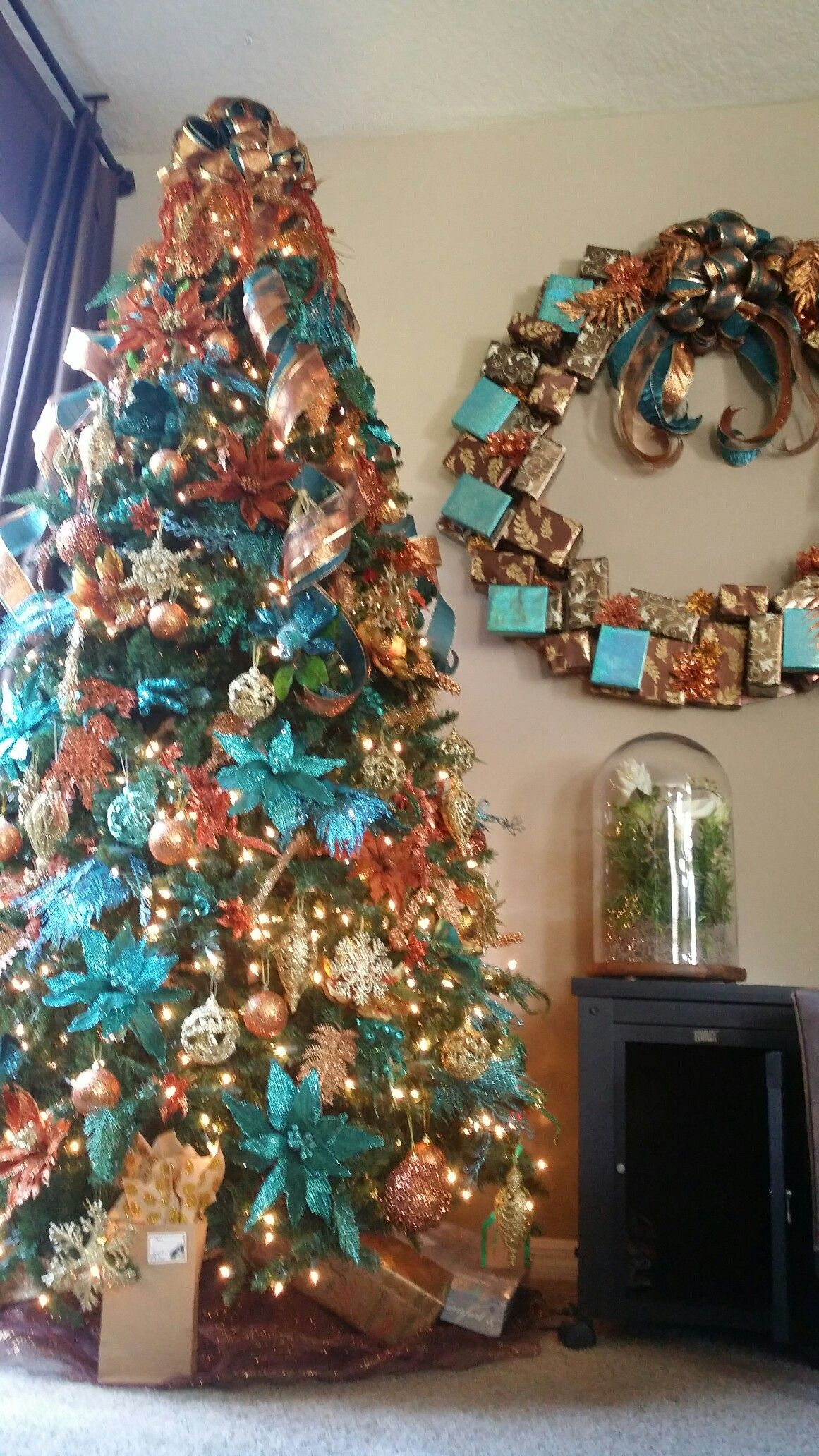 Turquoise, copper, & GOLD Tree!