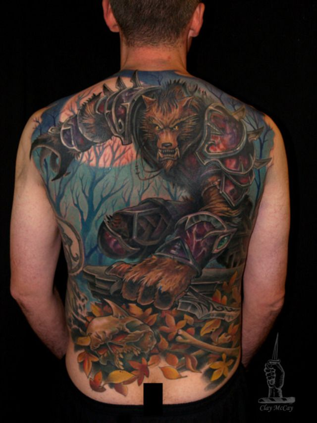 Wow This Cool World Of Warcraft Full Back Tattoo Of A Worgen Is