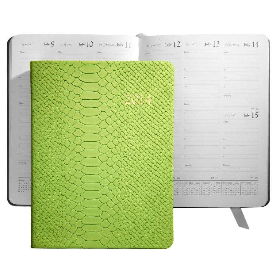 2014 Desk Diary Lime Embossed Python Leather | 2014