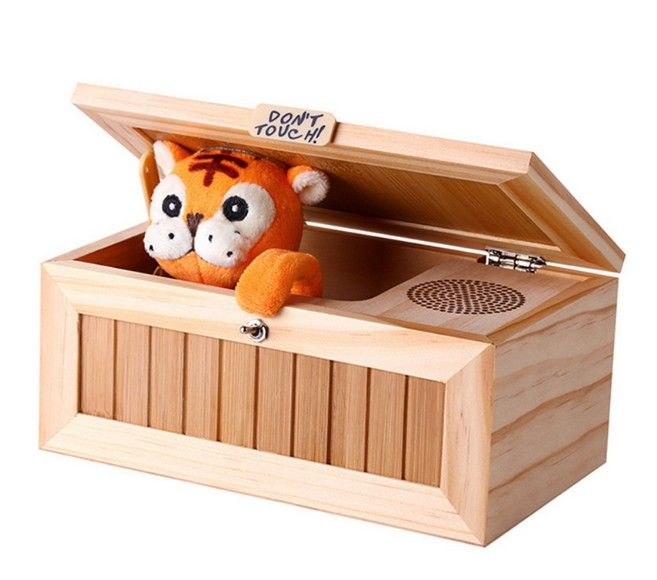 Audio Version Tiger Made Roar Thunder Sound Voice/Wooden Useless Box