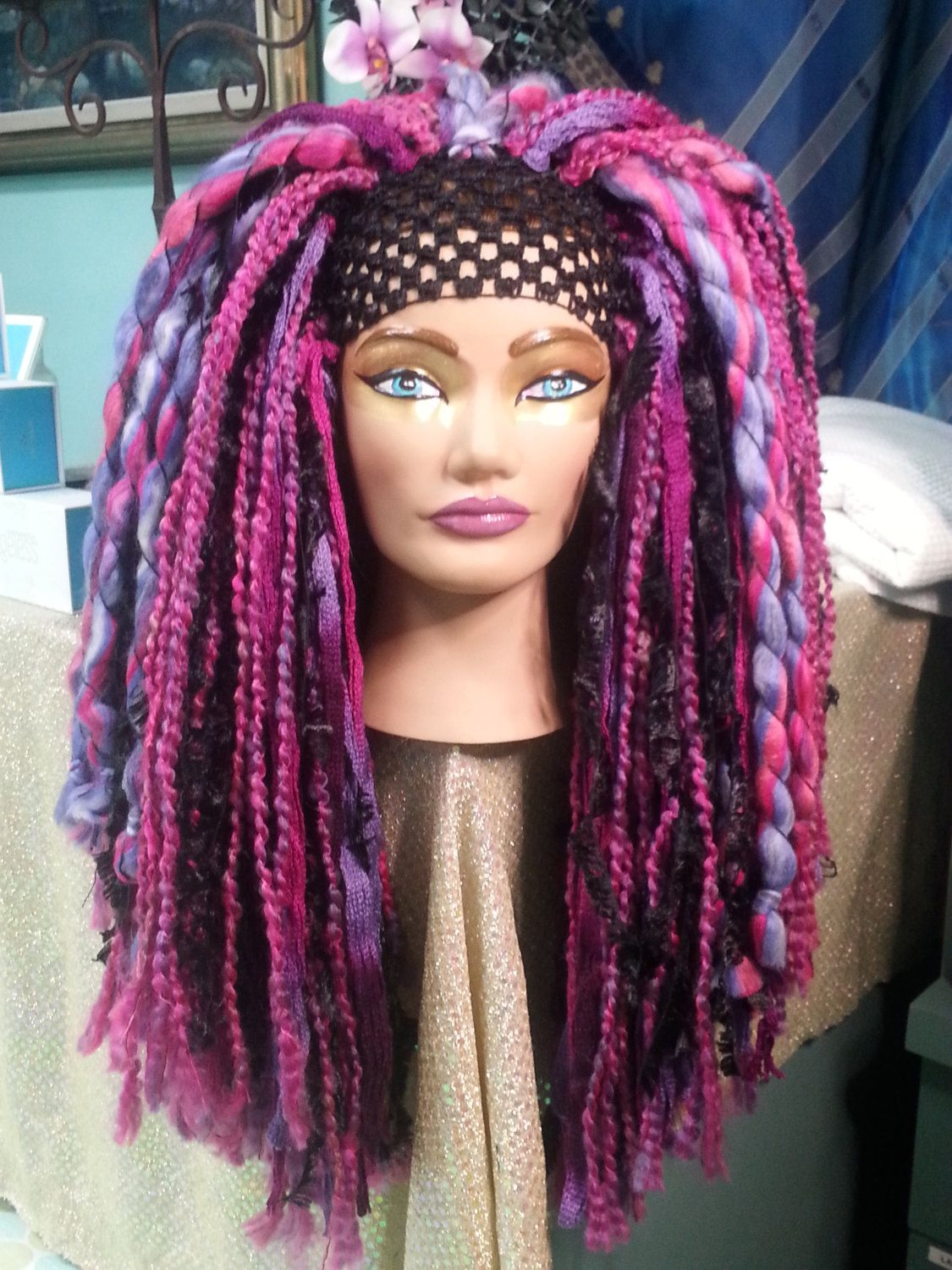 Super Fluffy Pink   Purple Long Thick Yarn Dreadlock Wig Headdress Tribal  Bellydance Cosplay Fairy Burlesque Funky Clown - pinned by pin4etsy.com fbfc1aa07