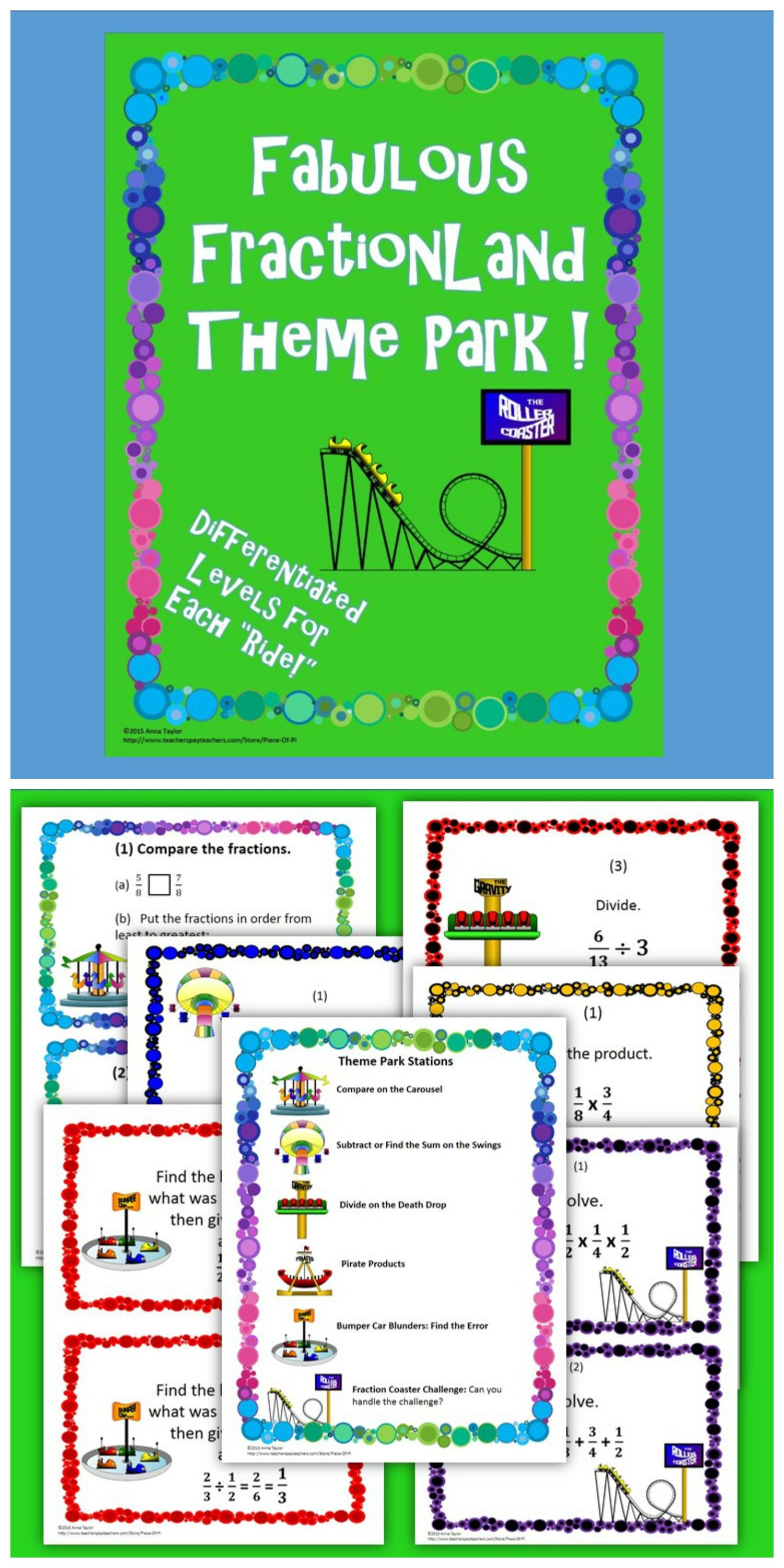 Fraction Operations Review Stations Differentiation Theme Park ...