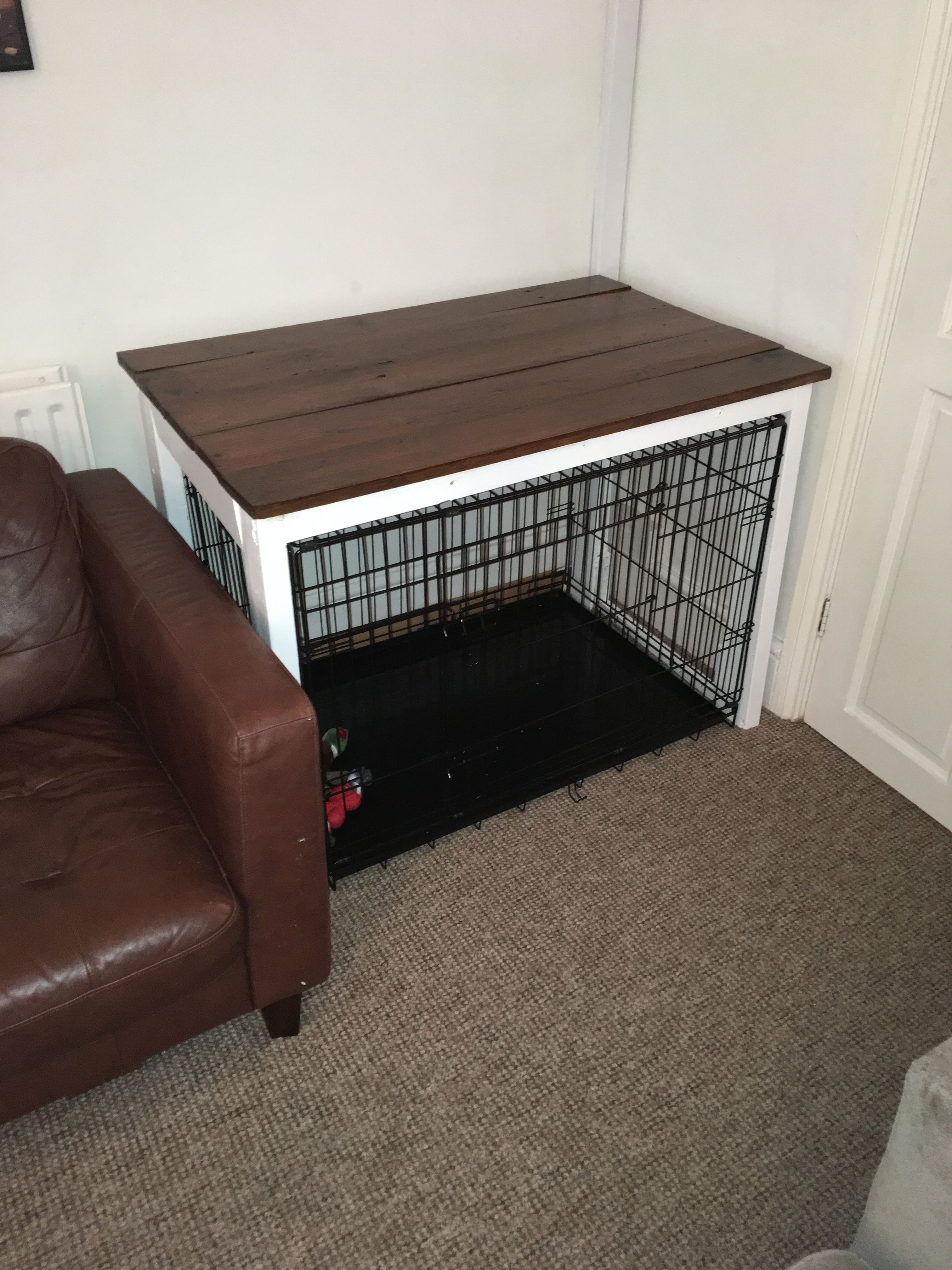 Dog Crate Table Surround Nice Hack Idea To Make The Crate Blend In Nicely Dogcrate Dogcratetable Dogfur Diy Dog Crate Dog Crate Furniture Dog Crate Table