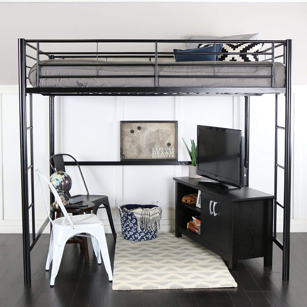 WE Furniture Full Metal Loft Bed Queen loft beds, Loft