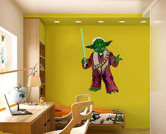 Kcik1274 Full Color Wall Decal Star Wars Jedi Master Yoda Bedroom Children S Room Wall Colors Wall Decals Kids