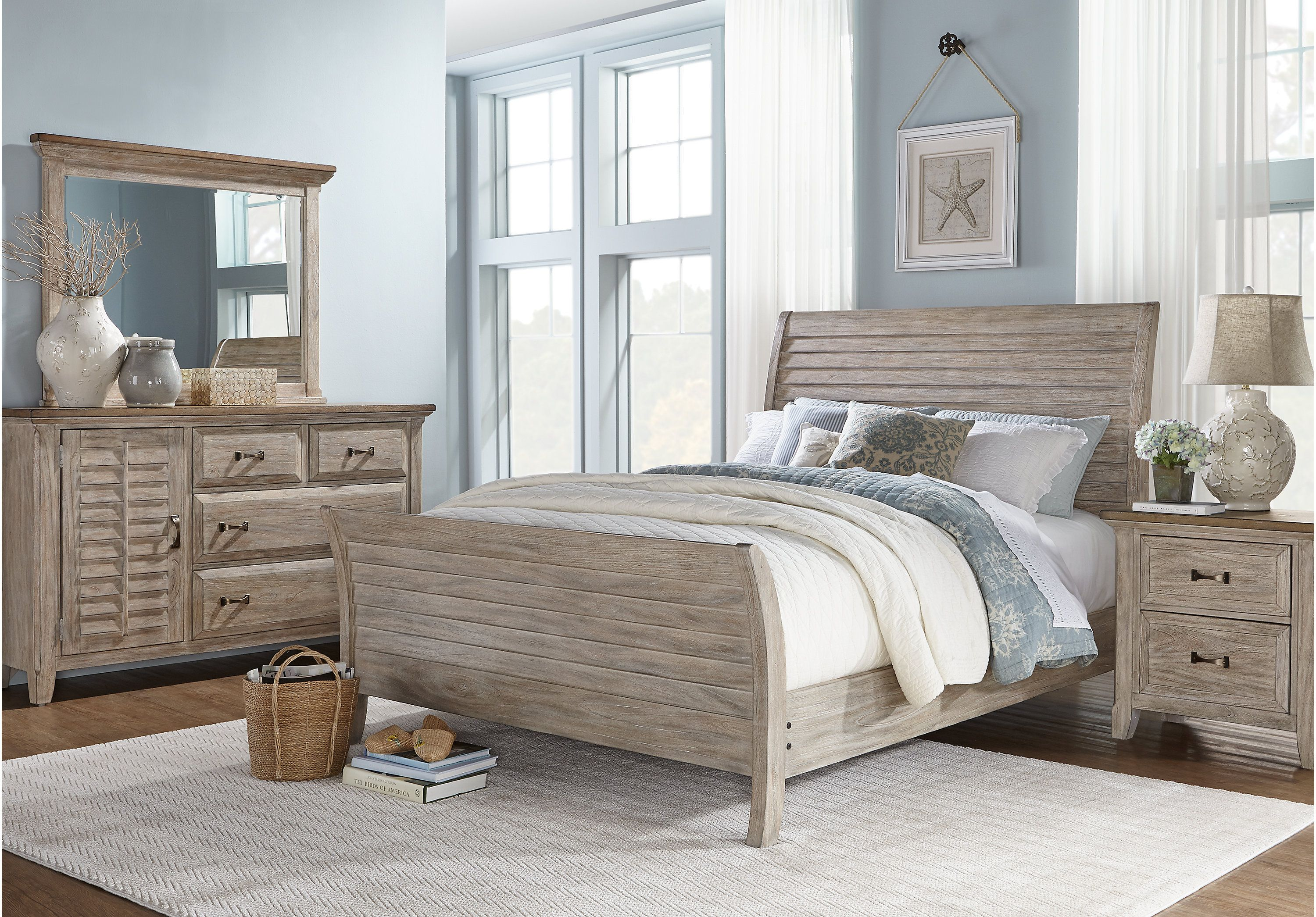 Master bedroom furniture sets  picture of Nantucket Breeze White  Pc King Sleigh Bedroom from King