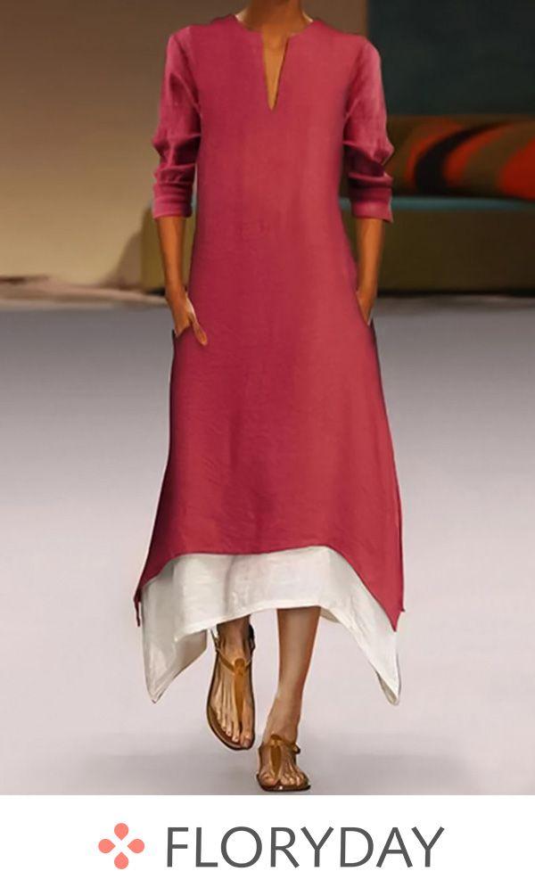 4217fb53665821 Color block 3 4 sleeves midi dress